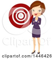 Clipart Of A Short Haired Brunette White Business Woman By A Target Royalty Free Vector Illustration by BNP Design Studio