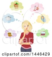Clipart Of A Happy Blond White Woman Thinking About Chores And Tasks Royalty Free Vector Illustration by BNP Design Studio