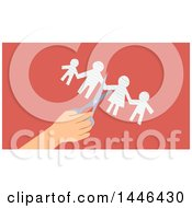 Clipart Of A Hand Using Scissors To Cut A Paper Family In Half Over Pink Royalty Free Vector Illustration