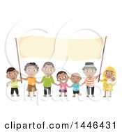 Poster, Art Print Of Happy Black Family Holding A Blank Banner