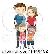 Clipart Of A Happy White Family With An Adopted Black Son Royalty Free Vector Illustration