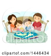 Clipart Of A Happy Brunette White Family Reading A Bedtime Story About Geography Royalty Free Vector Illustration