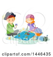 Clipart Of A Happy Red Haired White Family Dressed As Pirates Playing A Board Game Royalty Free Vector Illustration
