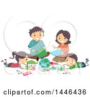 Clipart Of A Happy White Family Creating A Geography Project Royalty Free Vector Illustration
