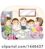 Happy Brunette White Family Studying And Doing Homework