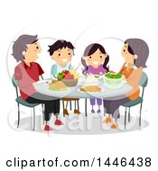 Clipart Of A Happy Brunette White Family Eating Dinner Together Royalty Free Vector Illustration by BNP Design Studio