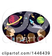 Clipart Of A Rear View Of A Happy Brunette White Family At A Planetarium Royalty Free Vector Illustration