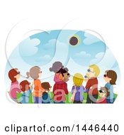 Clipart Of A Rear View Of A Gorup Of People Watching A Solar Eclipse Royalty Free Vector Illustration by BNP Design Studio