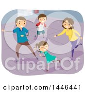 Clipart Of A Happy Brunette White Family Playing Indoor Tag Royalty Free Vector Illustration