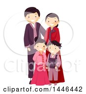 Clipart Of A Happy Korean Family In Traditional Clothing Royalty Free Vector Illustration