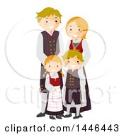 Clipart Of A Happy Norwegian Family In Traditional Clothing Royalty Free Vector Illustration