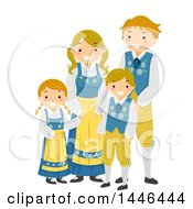 Clipart Of A Happy Swedish Family In Traditional Clothing Royalty Free Vector Illustration