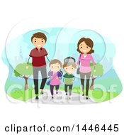 Clipart Of A Happy White Family Walking In A Park Royalty Free Vector Illustration