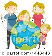 Poster, Art Print Of Happy Blond White Family Around A Giant Globe