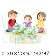 Poster, Art Print Of Happy Brunette White Family Assembling A Geography Jigsaw Puzzle