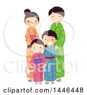 Happy Japanese Family In Traditional Clothing