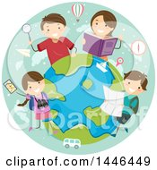 Clipart Of A Happy Brunette White Family Learning About World Travel Royalty Free Vector Illustration by BNP Design Studio