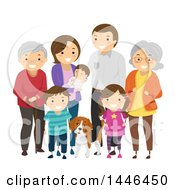 Clipart Of A Happy White Family With Grandparents And A Dog Royalty Free Vector Illustration