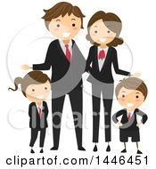 Clipart Of A Happy White Family In Corporate Suits Royalty Free Vector Illustration