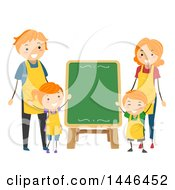 Clipart Of A Happy Red Haired White Family Wearing Aprons Around A Menu Chalkboard Royalty Free Vector Illustration by BNP Design Studio