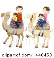 Clipart Of A Happy Brunette White Family Riding Camels Royalty Free Vector Illustration
