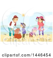 Clipart Of A Happy Brunette White Family Picking Up Litter On A Beach Royalty Free Vector Illustration