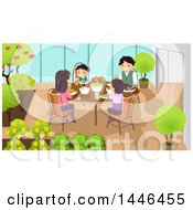 Clipart Of A Happy White Family Eating A Meal At An Indoor Garden Royalty Free Vector Illustration