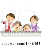 Happy Brunette White Family Brushing Their Teeth Together