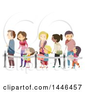 Line Of Happy Parents And Children With Piggy Banks Waiting To Make Deposits