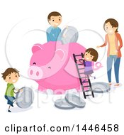 Happy Brunette Family Depositing Giant Coins In A Piggy Bank