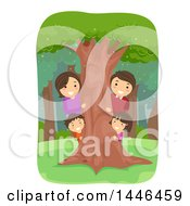 Clipart Of A Happy Brunette Family Looking Around A Tree In The Woods Royalty Free Vector Illustration by BNP Design Studio