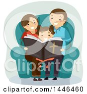 Clipart Of A Happy Brunette Family Reading The Bible Royalty Free Vector Illustration