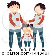 Clipart Of A Happy Brunette White Family Wearing Matching Clothes Royalty Free Vector Illustration