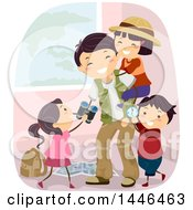 Clipart Of A Happy Explorer Father Playing With His Kids Royalty Free Vector Illustration by BNP Design Studio