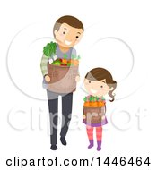 Clipart Of A Happy Brunette White Father And Daughter Carrying Harvest Baskets Or Groceries Royalty Free Vector Illustration