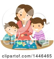 Clipart Of A Happy Brunette White Mother Reading A Map With Her Son And Daughter Royalty Free Vector Illustration