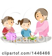 Clipart Of A Happy Brunette White Mother Teaching Her Children To Save Money Royalty Free Vector Illustration