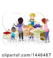 Clipart Of A Happy Male Farmer Talking To Customers And Selling Produce Royalty Free Vector Illustration by BNP Design Studio