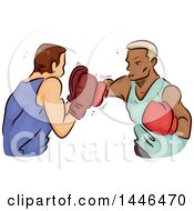Clipart Of A Sketched Boxer Throwing Punches At His Trainer Royalty Free Vector Illustration