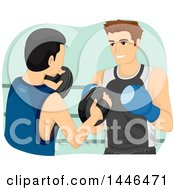 Clipart Of A Boxing Trainer Teaching A Fighter How To Block Royalty Free Vector Illustration by BNP Design Studio