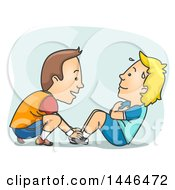 Cartoon White Male Personal Trainer Working With A Client On Situps