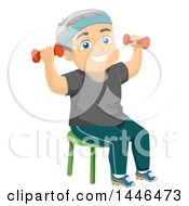 Clipart Of A Happy White Senior Man Working Out With Dumbbells Royalty Free Vector Illustration