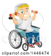 Happy White Senior Man In A Wheelchair Working Out With Dumbbells