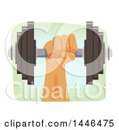 Strong Male Hand Holding Up A Heavy Barbell