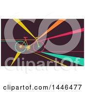 Clipart Of A Retro Flat Styled Bicycle With Colorful Rays Royalty Free Vector Illustration