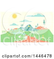 Clipart Of A Retro Silhouetted Bicycle On A Path Near Mountains Royalty Free Vector Illustration