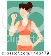 Faceless Brunette White Fit Woman Holding A Pill Over Green
