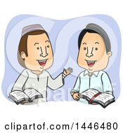 Clipart Of A Male Muslim And A Christian Discussing The Bible And Quran Royalty Free Vector Illustration