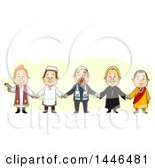 Clipart Of A Group Of Men From Different Religions Holding Hands Royalty Free Vector Illustration