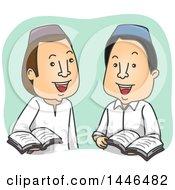 Poster, Art Print Of Cartoon Muslim Men Discussing The Quran